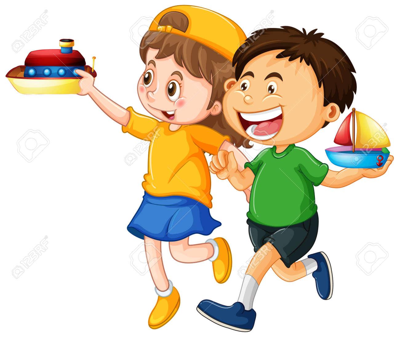 Happy children playing toys illustration - 159381538