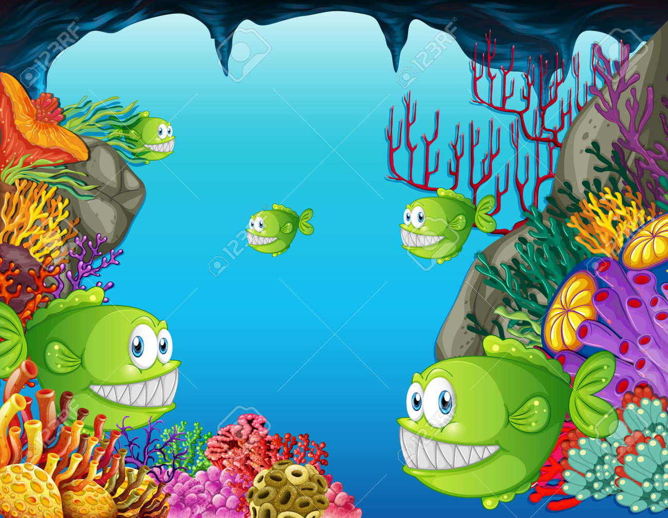 Many exotic fishes cartoon character in the underwater scene with corals illustration - 164379737