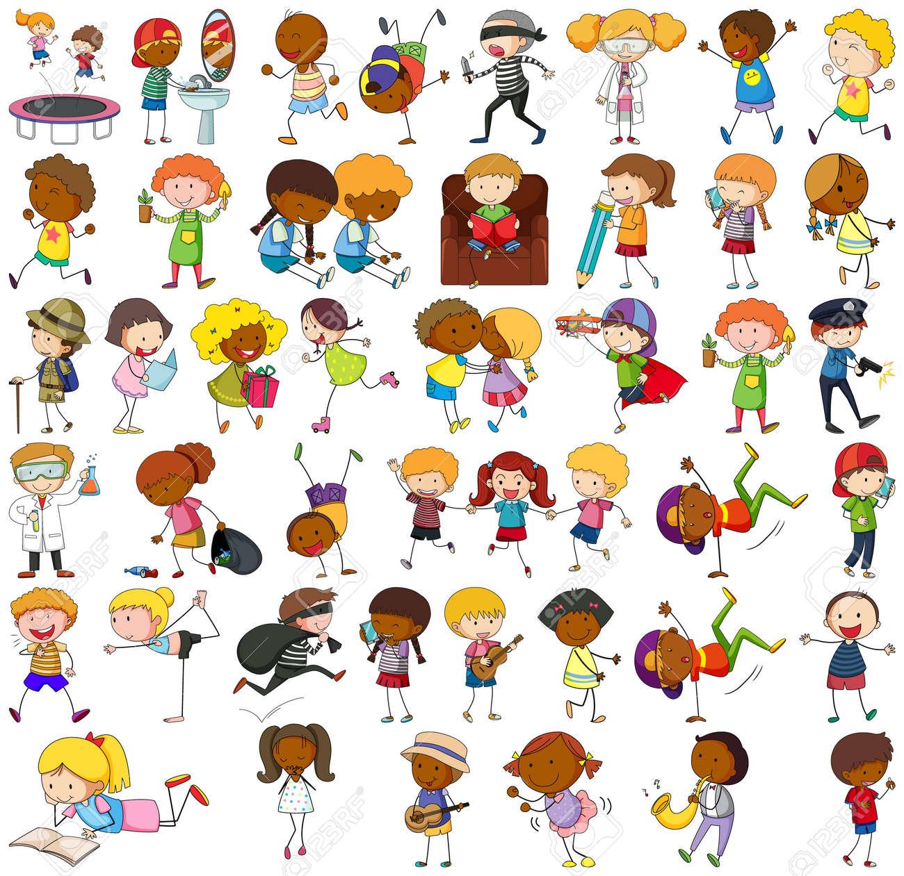 Set of different doodle kids cartoon character illustration - 166488529