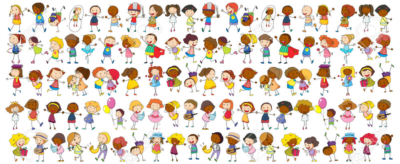 Set of different doodle kids cartoon character illustration - 168543237