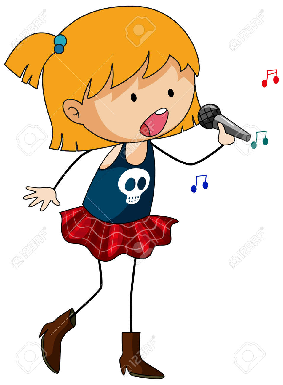 Singer girl's singing doodle cartoon character isolated illustration - 169327825