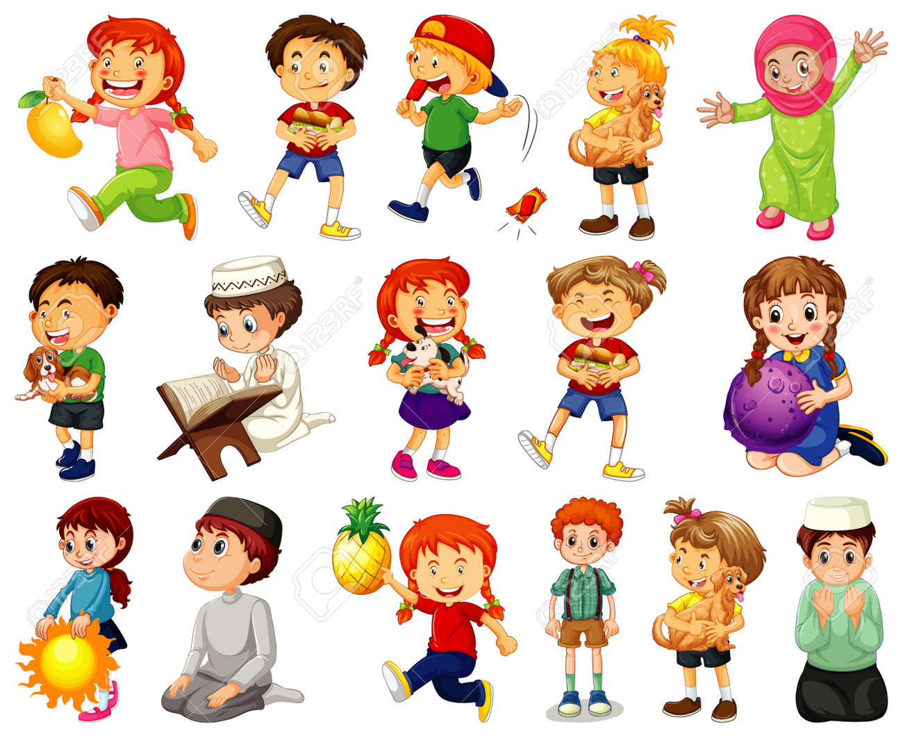 Children doing different activities cartoon character set on white background illustration - 169554931