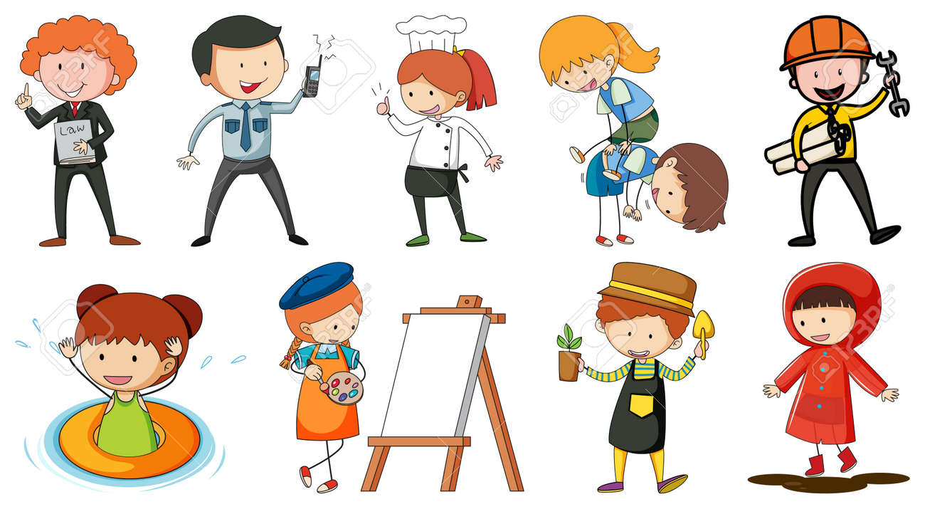 Set of different doodle kids cartoon character illustration - 169470010