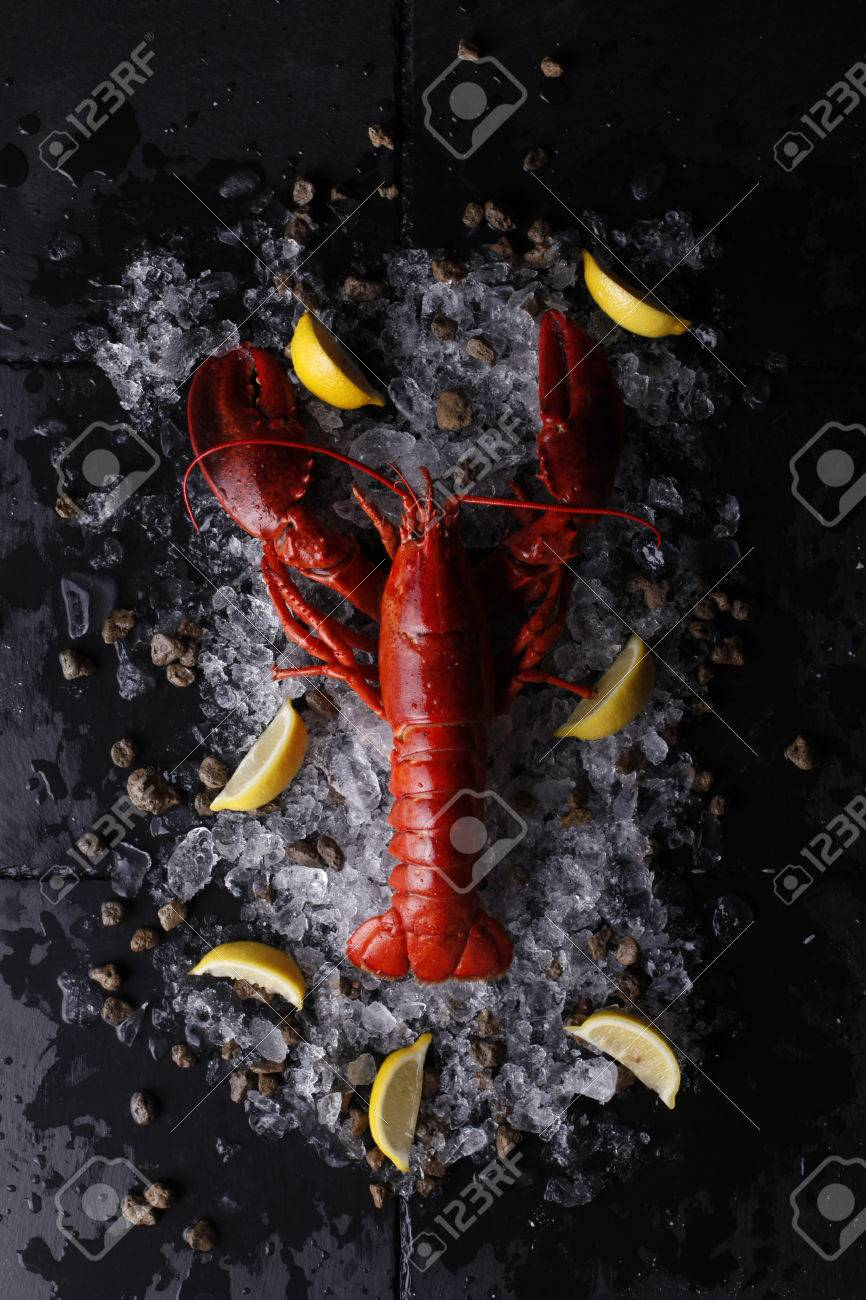 Red Lobster With Ice And Limetop View Of Fresh Lobster Stock Photo
