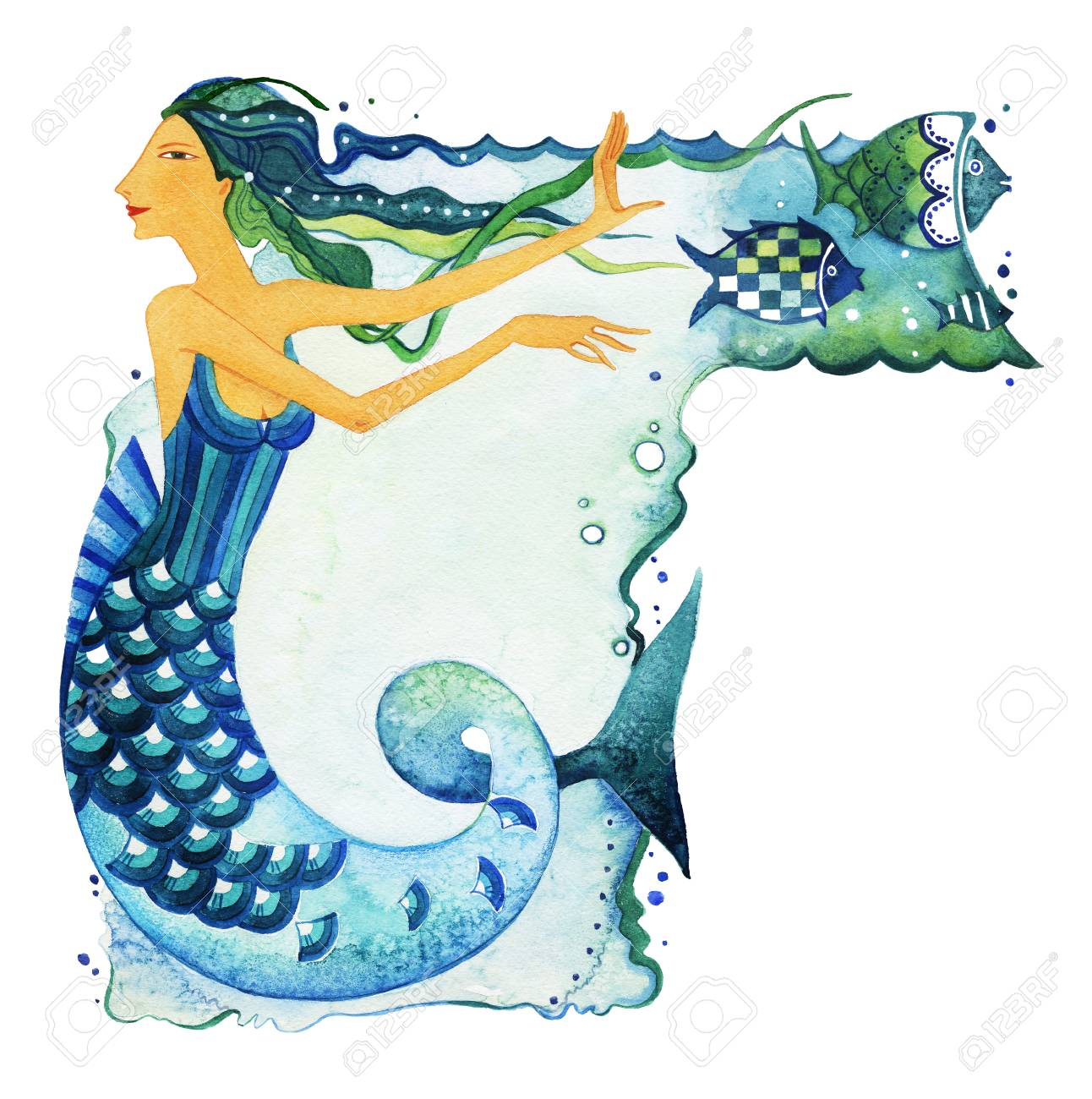 Mermaid As A Symbol Of The Sign Zodiac Pisces Surrounded By Fish
