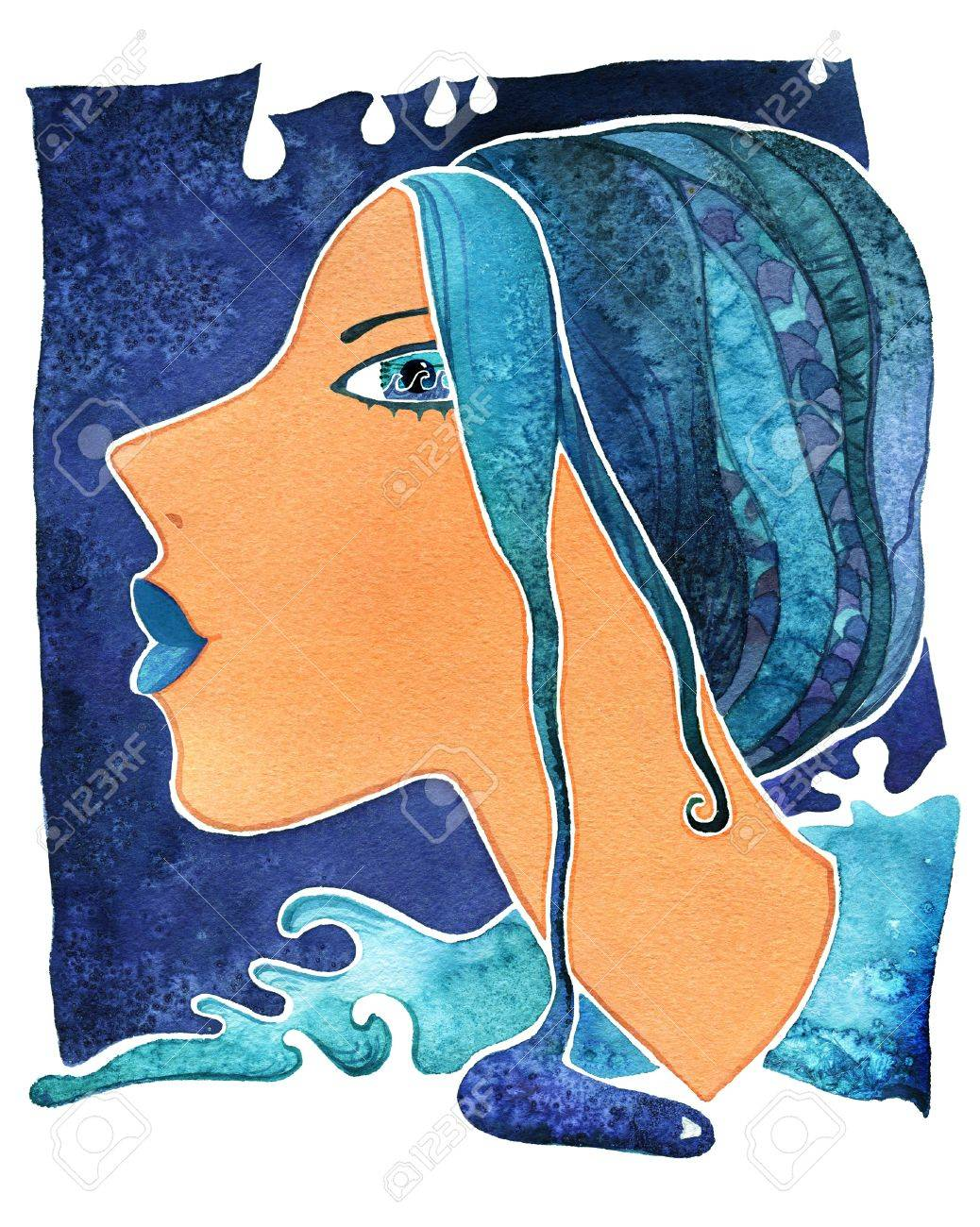 Face girl as astrology symbol Aquarius on pattern background