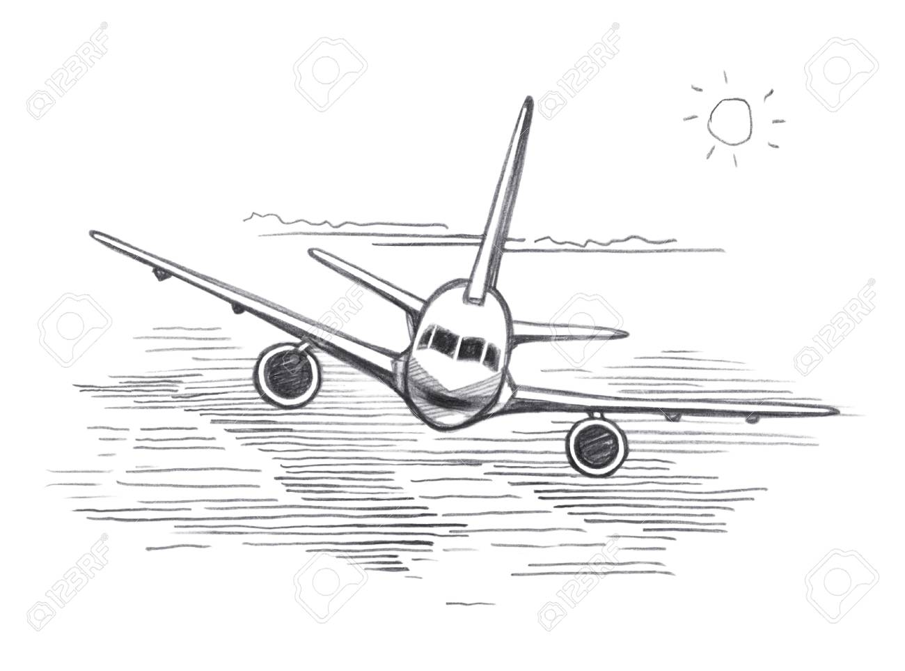 Airplane Flying Clouds From The Sun Graphic Linear Tonal Drawing By Slate Pencil Sepia