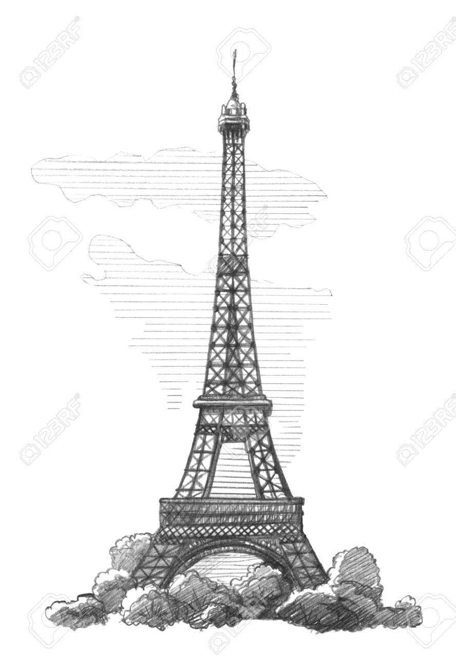 Eiffel tower paris graphic linear tonal drawing by slate pencil isolated on white