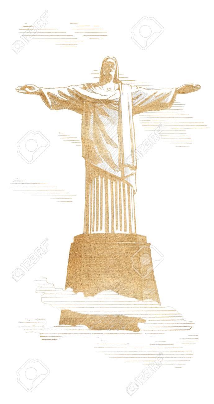 Dessin Christ Redempteur une statue du christ-rédempteur rio de janeiro, brésil. dessin