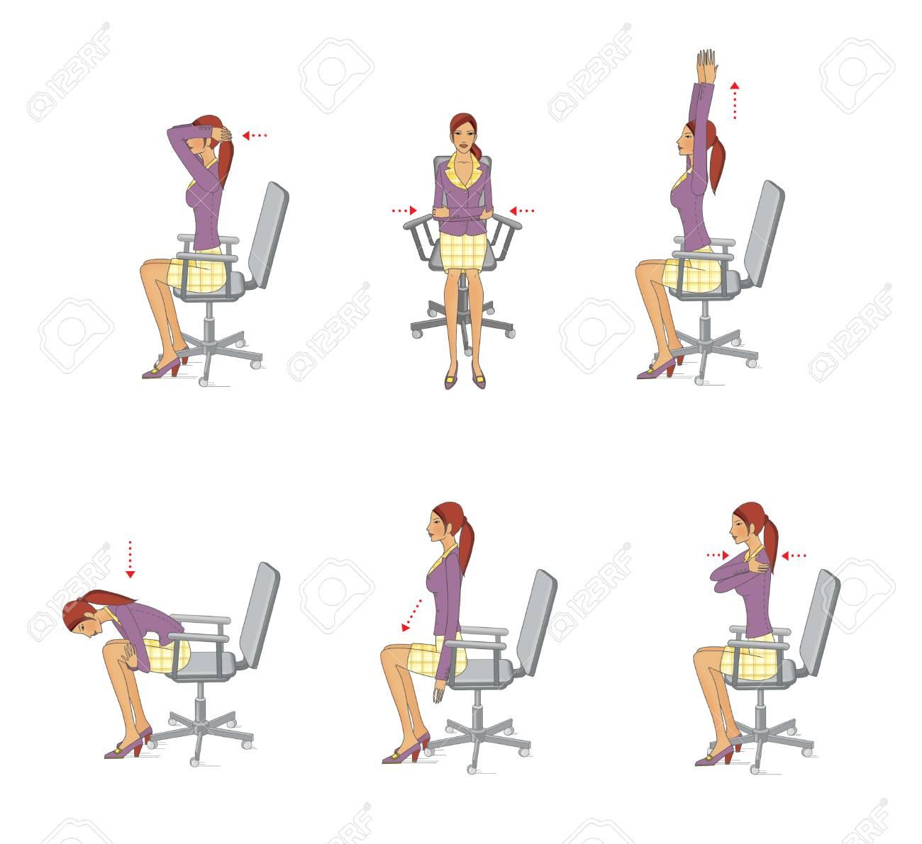 Tronc ChaiseIsolé Femme Effectue Exercices Du Sur Des Jeune Assis CouBras Renforcer Une Et Détendre Bureau Muscles Pour Les Au K1clFJ