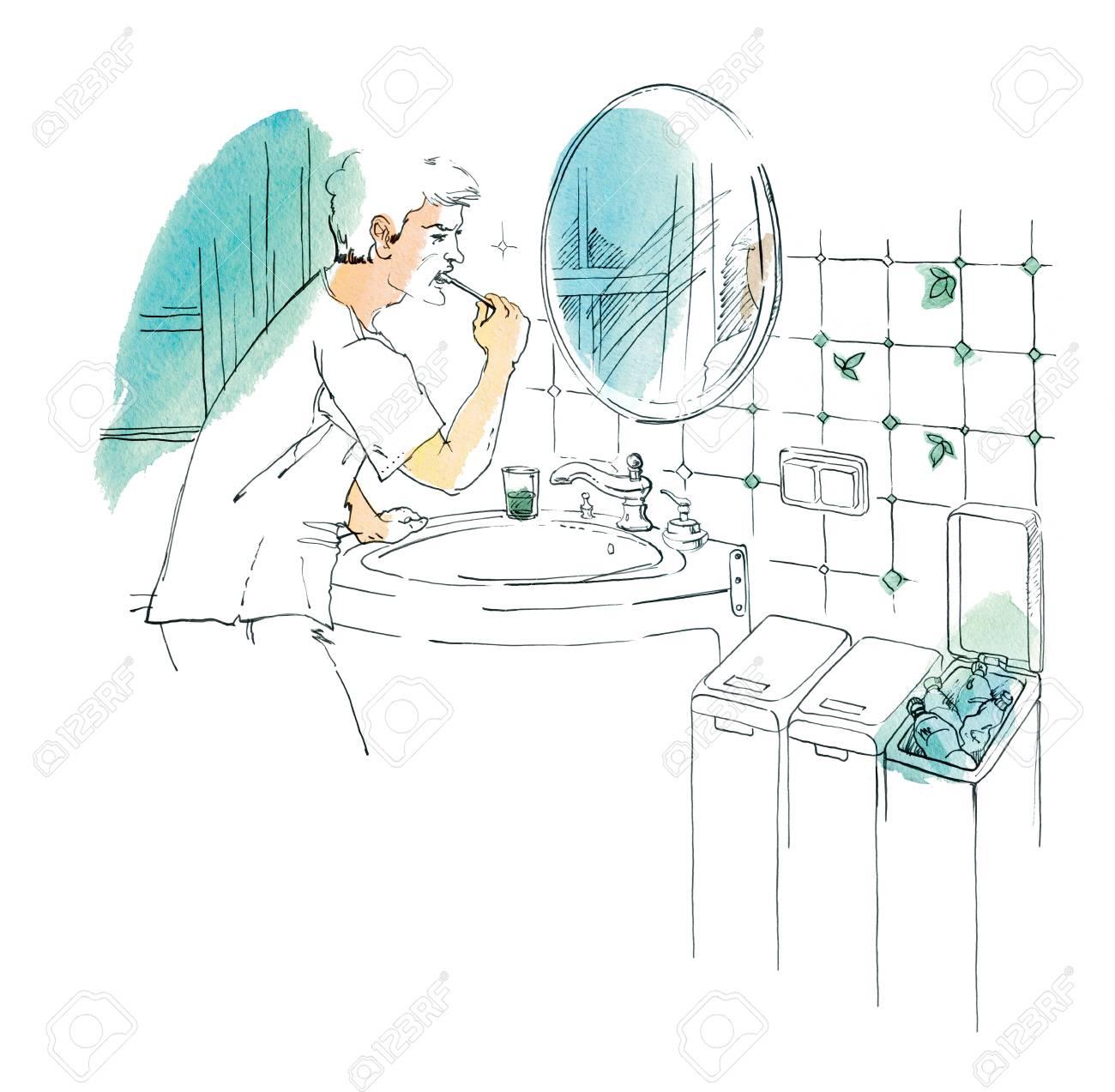 Ein Mann Putzt Seine Zahne Im Spiegel Im Badezimmer Container Fur