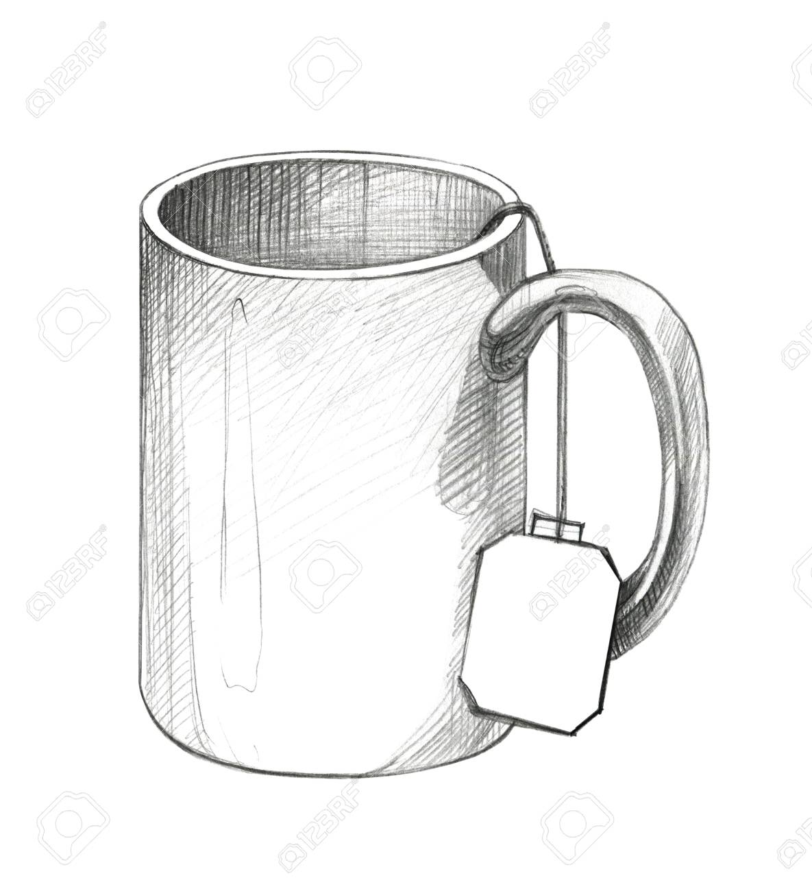 Drawing A Mug With A Label From A Tea Bag Pencil Drawing Isolated Stock Photo Picture And Royalty Free Image Image 90062750