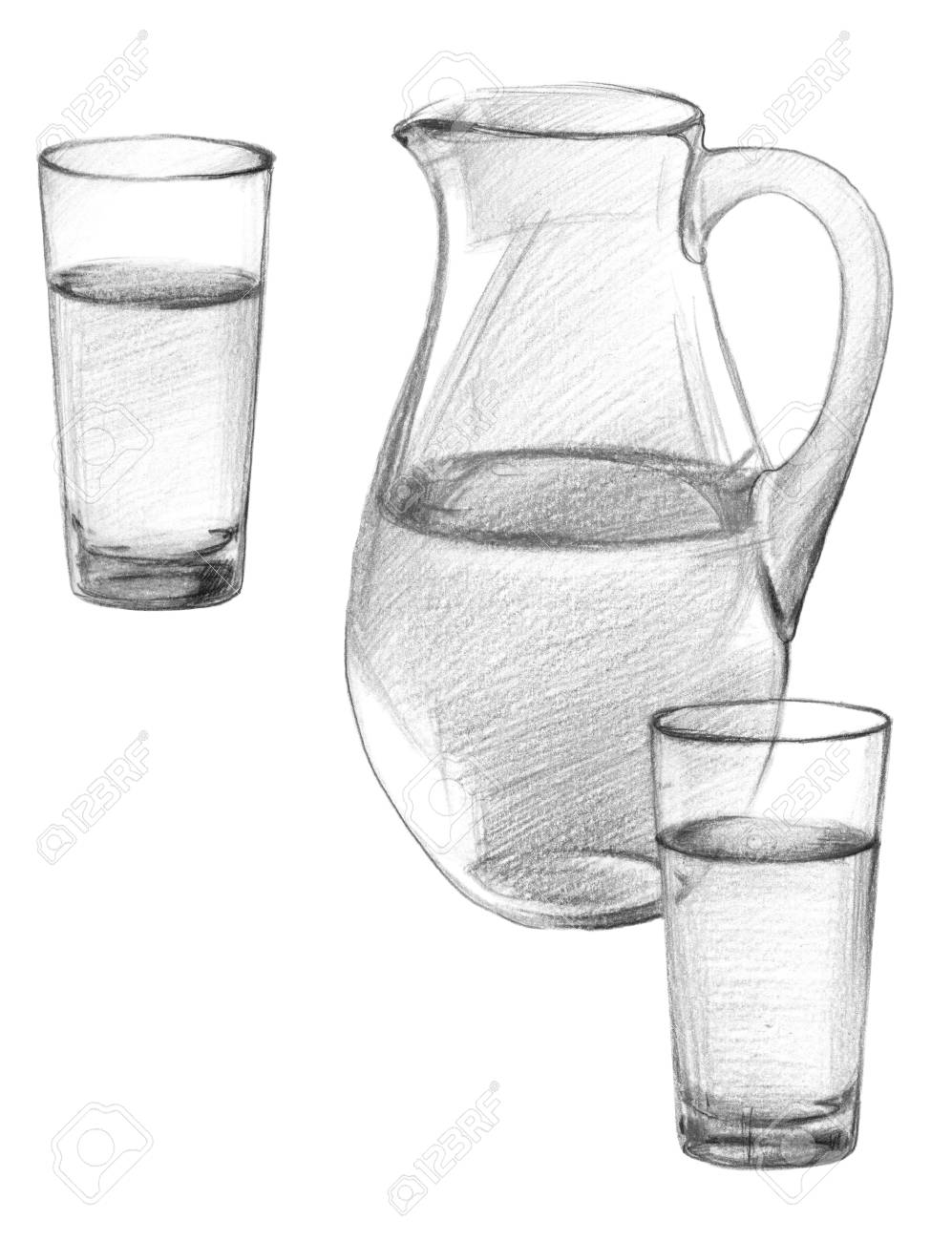 An image of a glass jug and two glasses of drinking water graphite pencil drawing