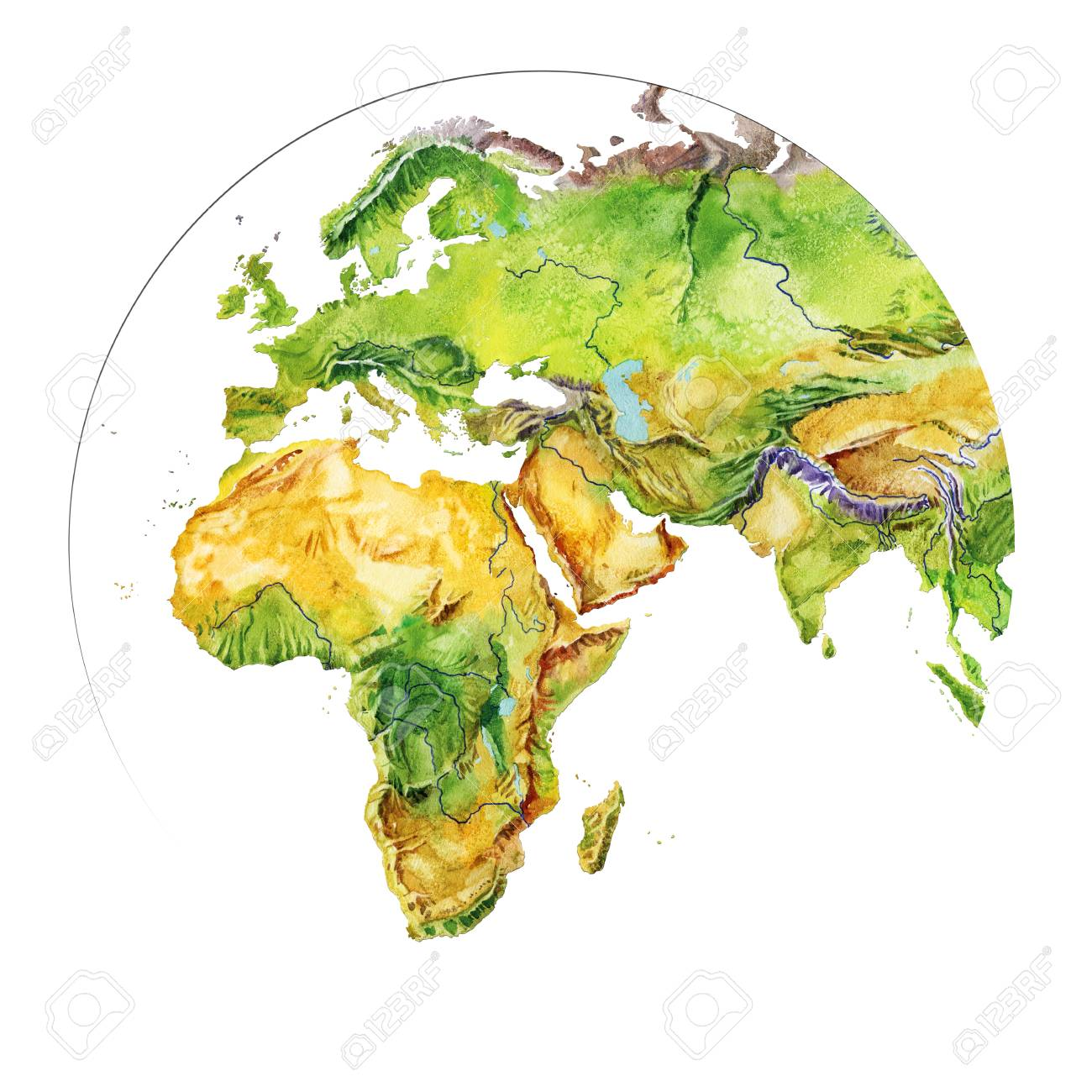Watercolor Geographical Map Of The World. Physical Map Of The ...