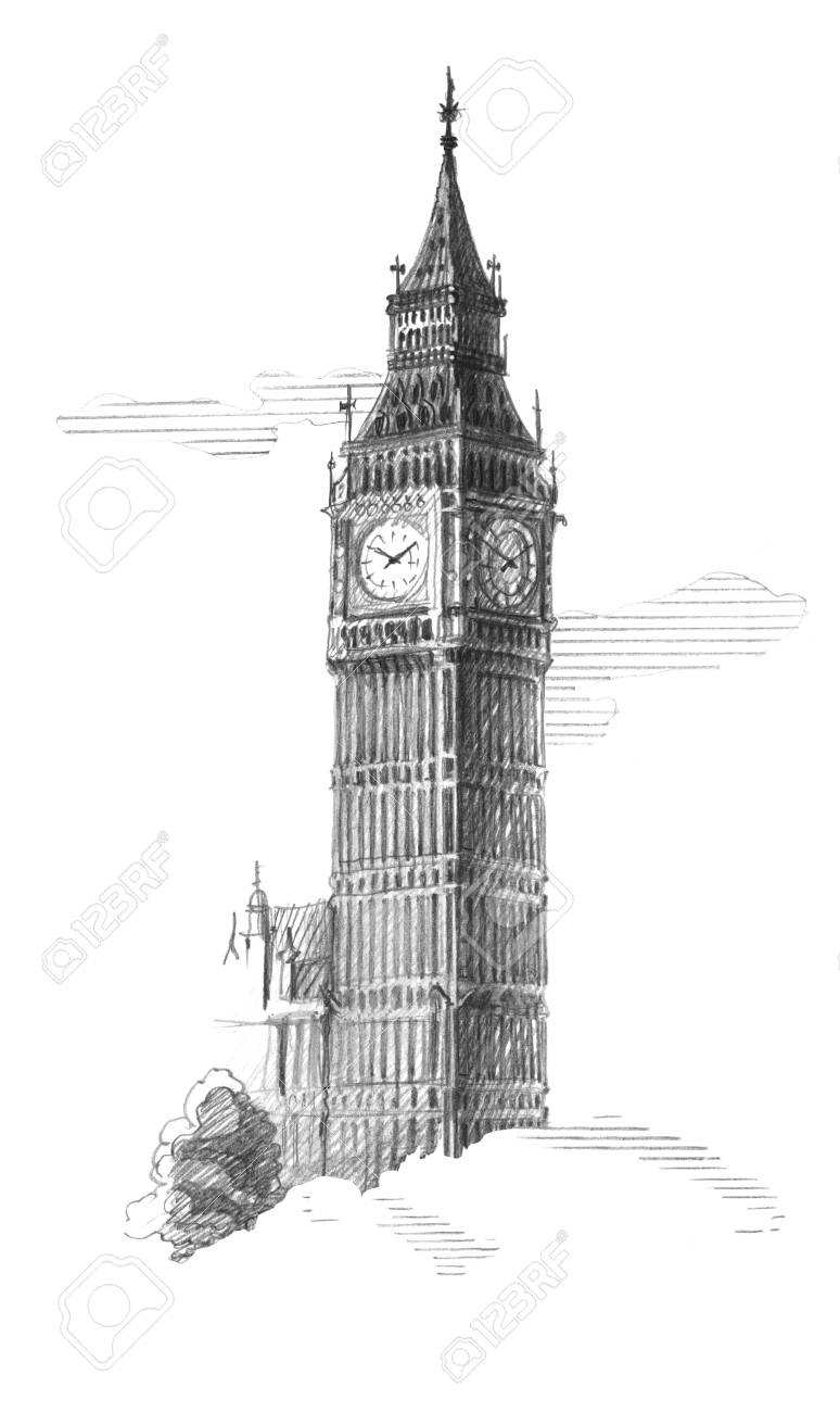 Big ben in the clouds london graphic linear tonal drawing by