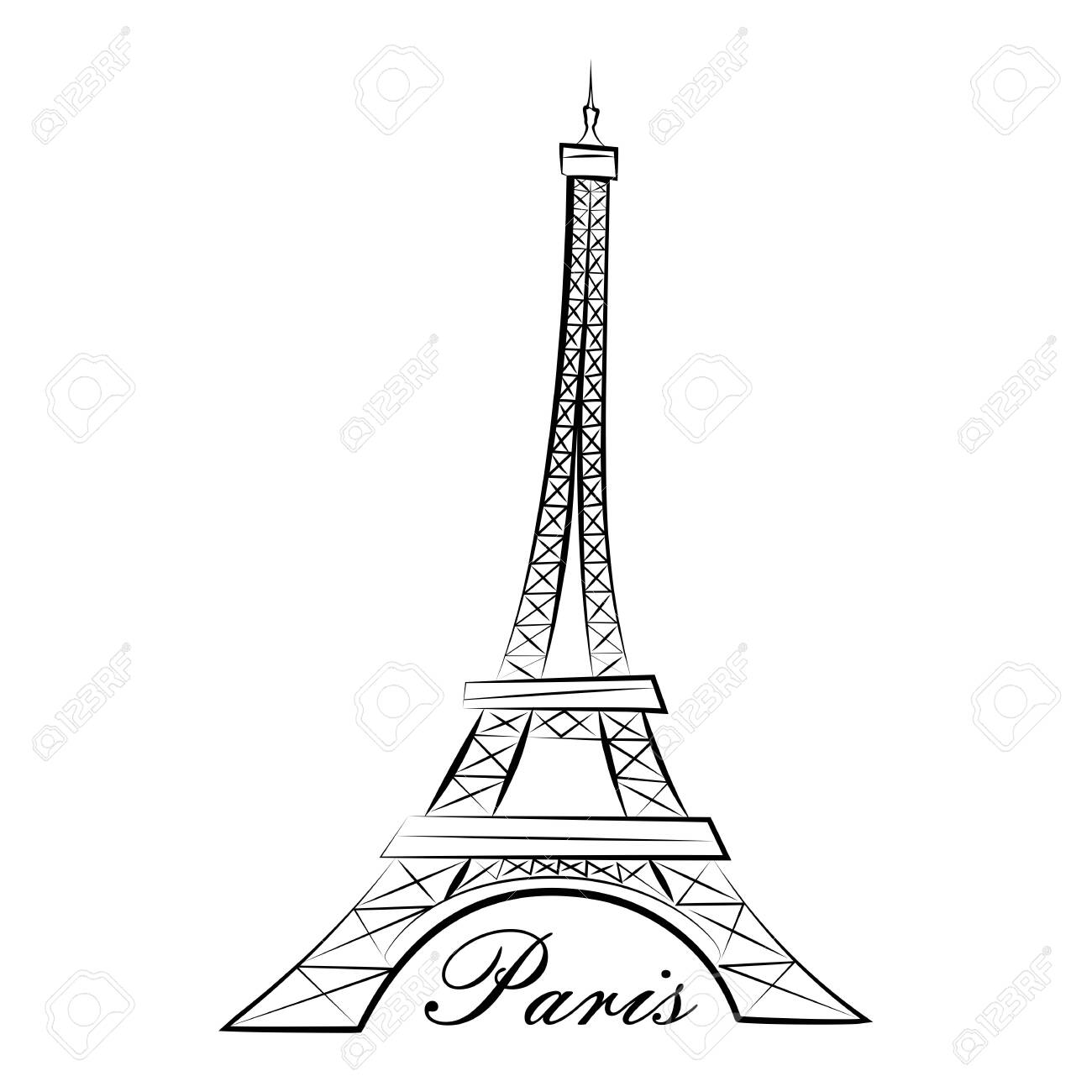 Eiffel Tower. Paris. Line graphics illustration. Isolated on a white background - 128828484