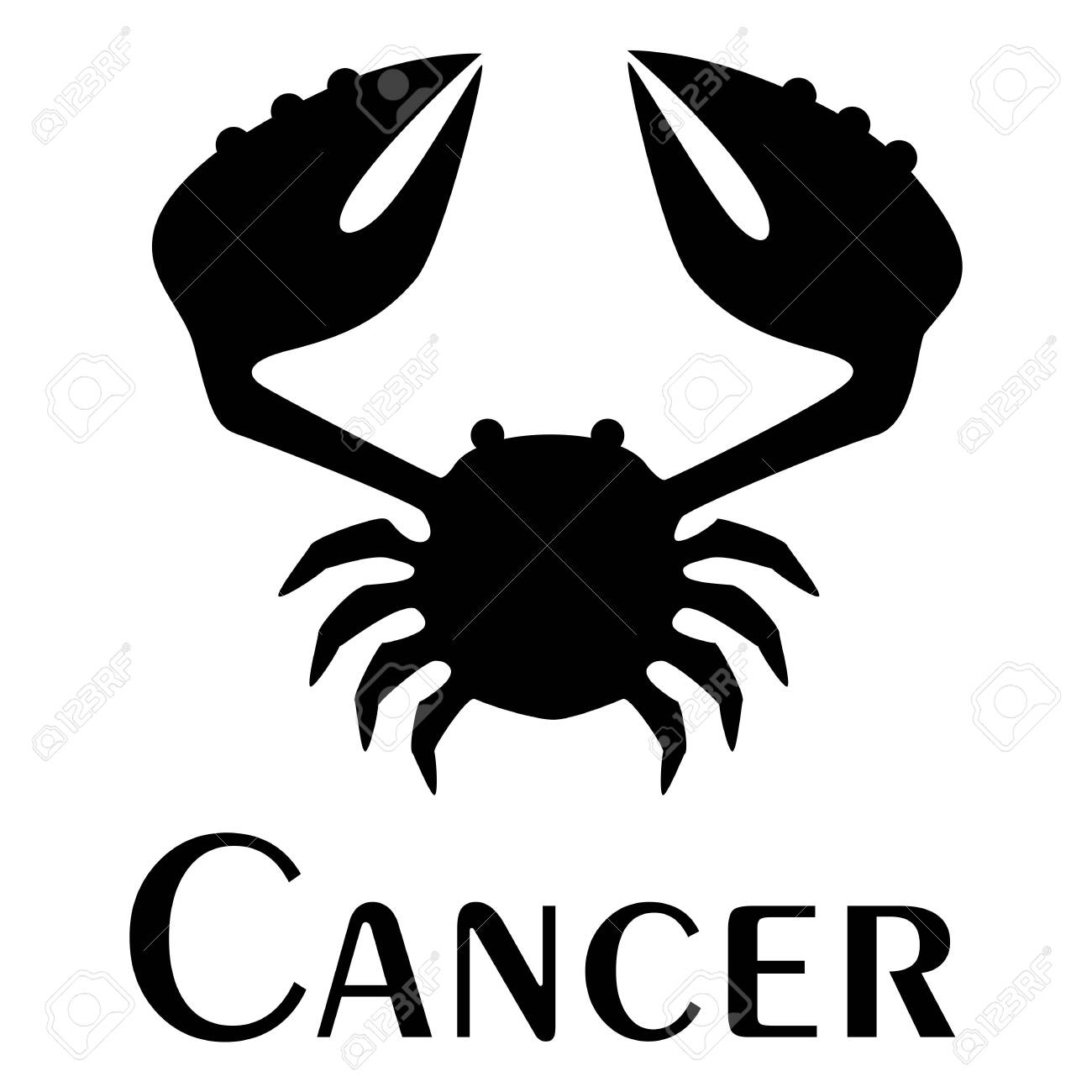 Cancer Zodiac Sign Logo Tattoo Vector Silhouette Image Royalty Free Cliparts Vectors And Stock Illustration Image 134741903