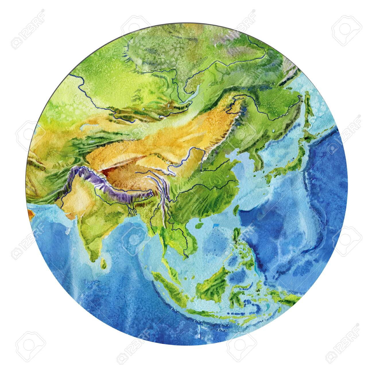 Picture of: Geographical Map Of The World Fragment Asia Indonesia India Stock Photo Picture And Royalty Free Image Image 136971068
