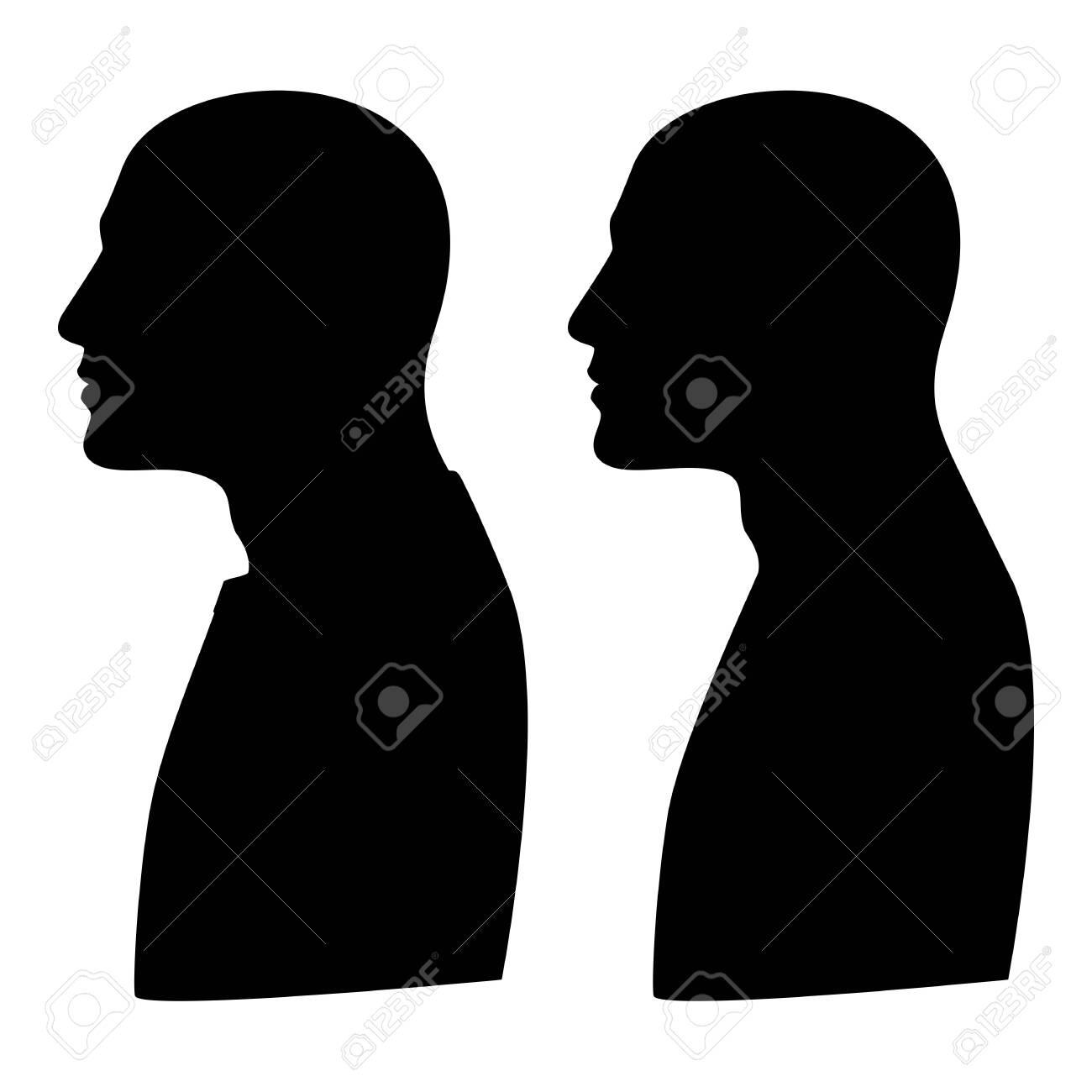 Mockup, template silhouette profile portrait of a man. Sign. illustration - 158311539