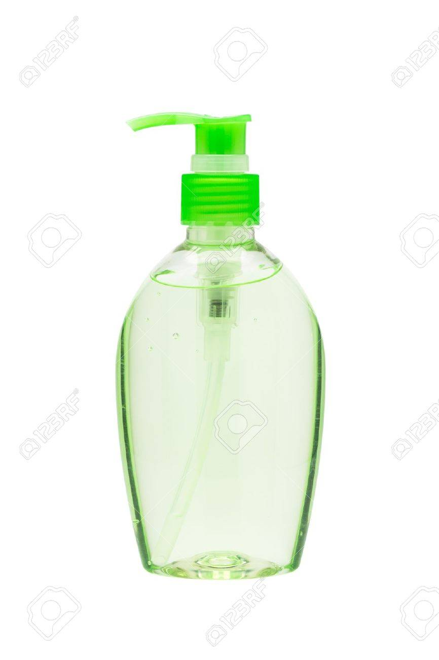 Hand sanitizer bottle with a pump dispenser isolated on white background Stock Photo - 17999200