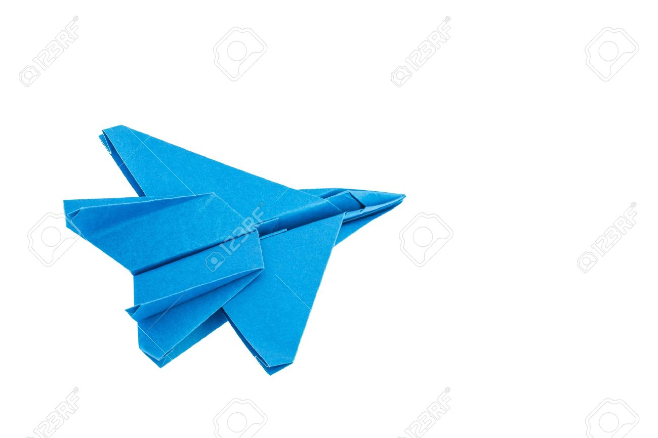 Origami F 15 Eagle Jet Fighter Airplane Isolated On White Background Stock Photo