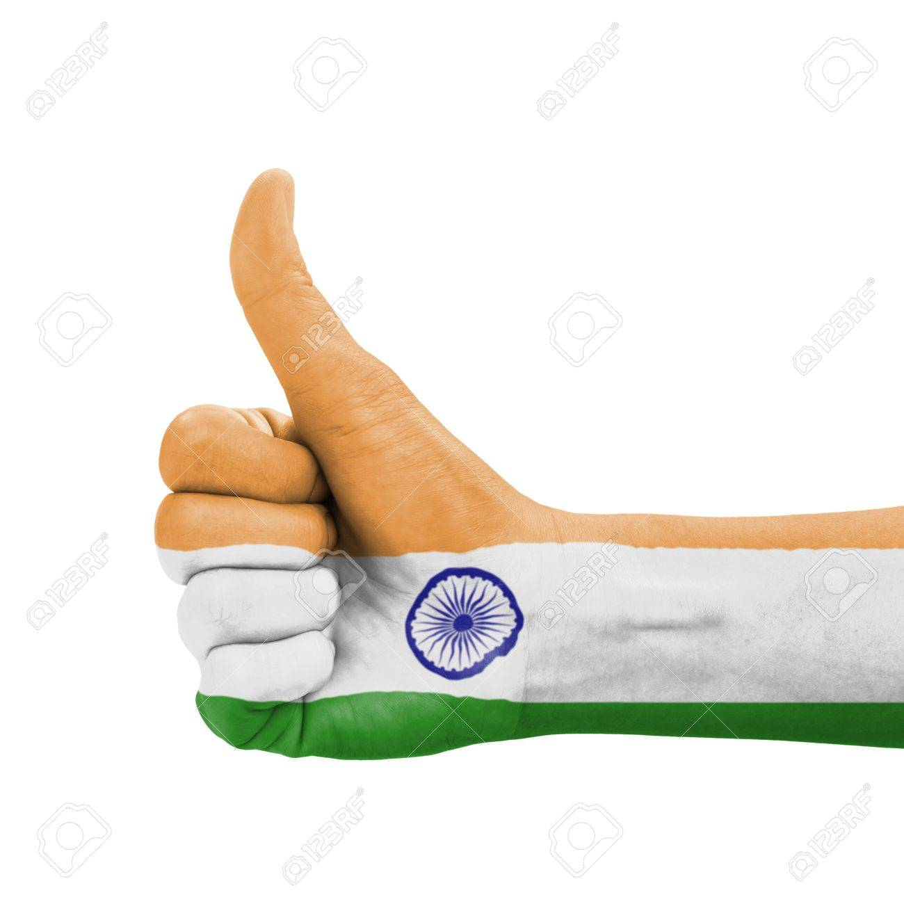 Hand With Thumb Up India Flag Painted As Symbol Of Excellence