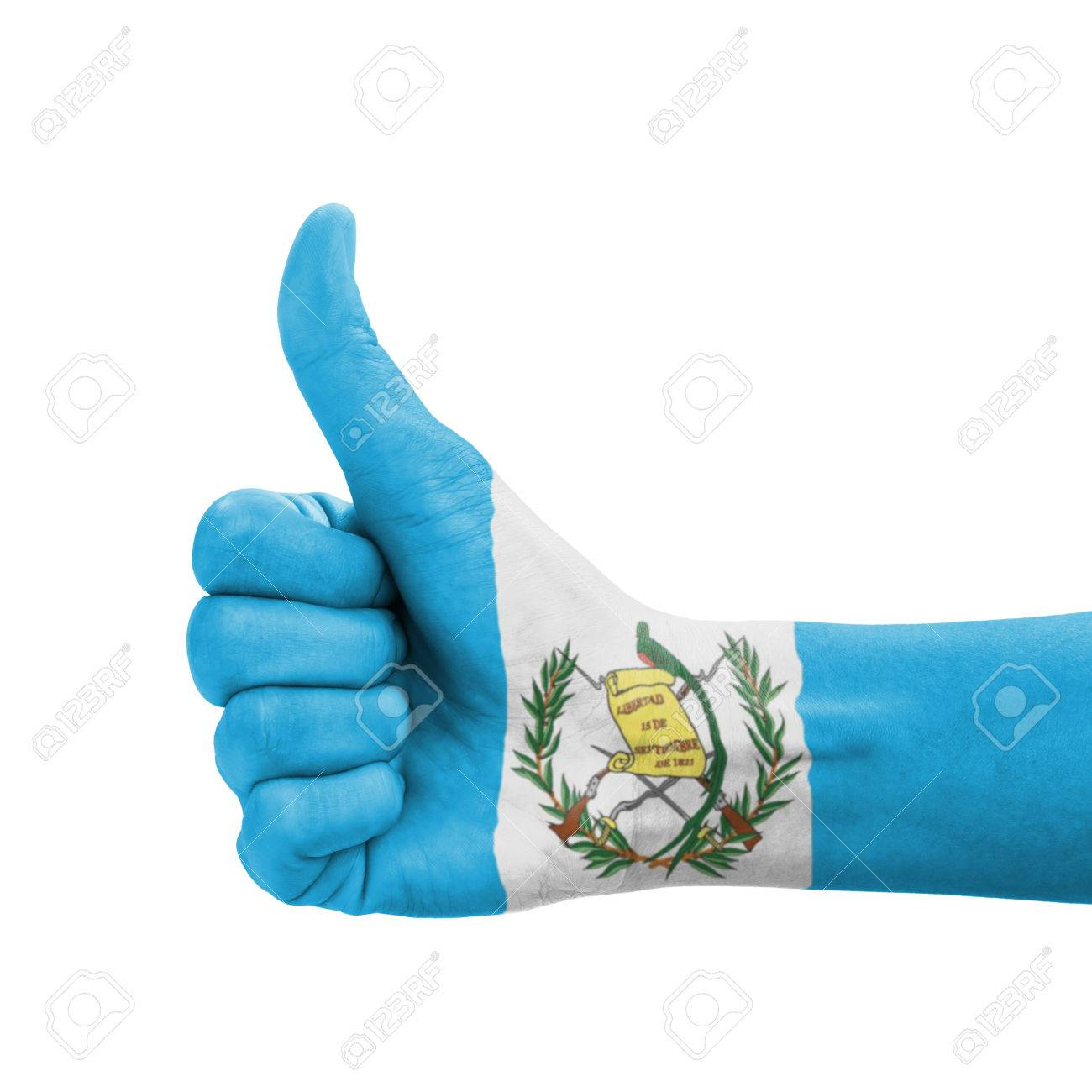 Hand With Thumb Up Guatemala Flag Painted As Symbol Of Excellence