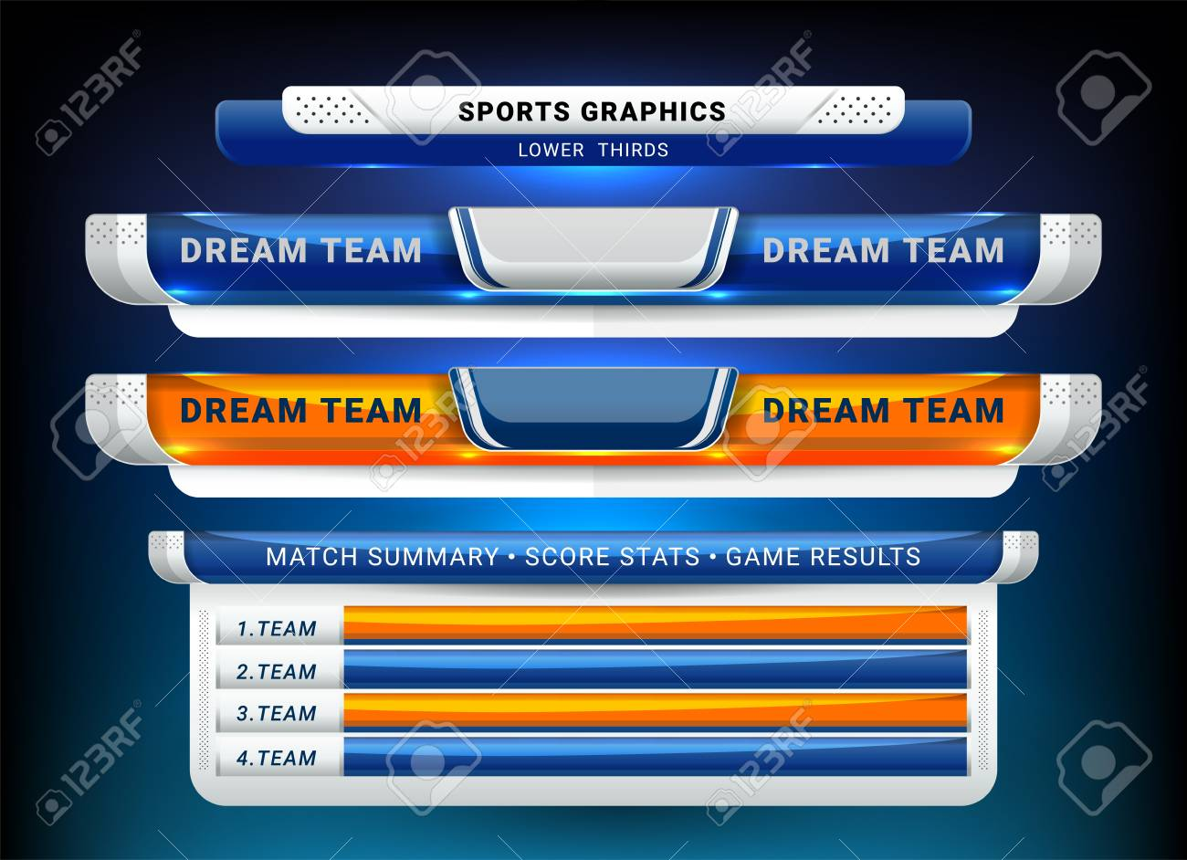 Scoreboard Broadcast and Lower Thirds Template for sport soccer and football - 126749694