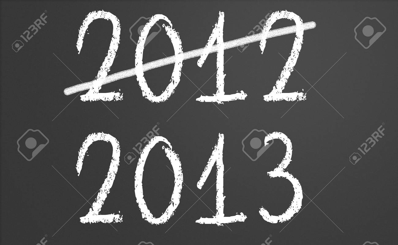 2012 crossed and new year 2013 written on chalkboard Stock Photo - 15417604