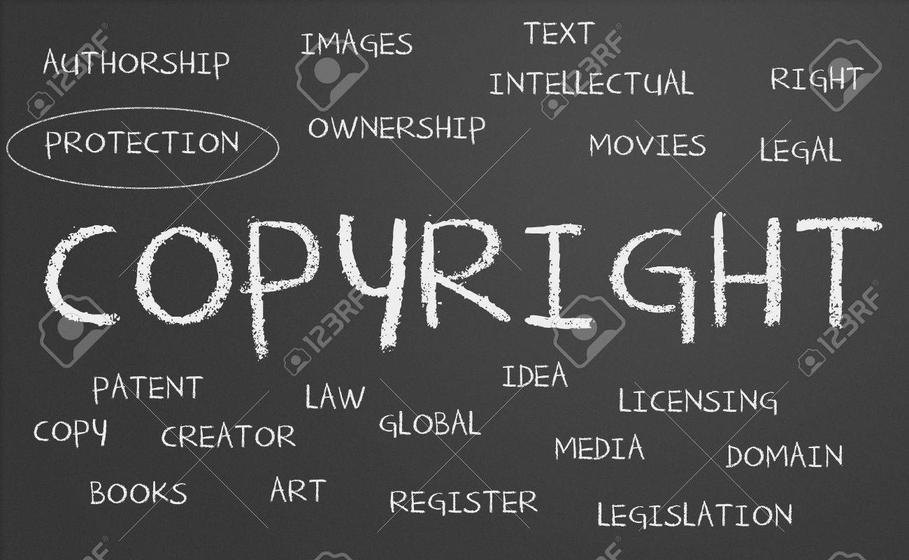 Copyright word cloud written on a chalkboard Stock Photo - 16483764