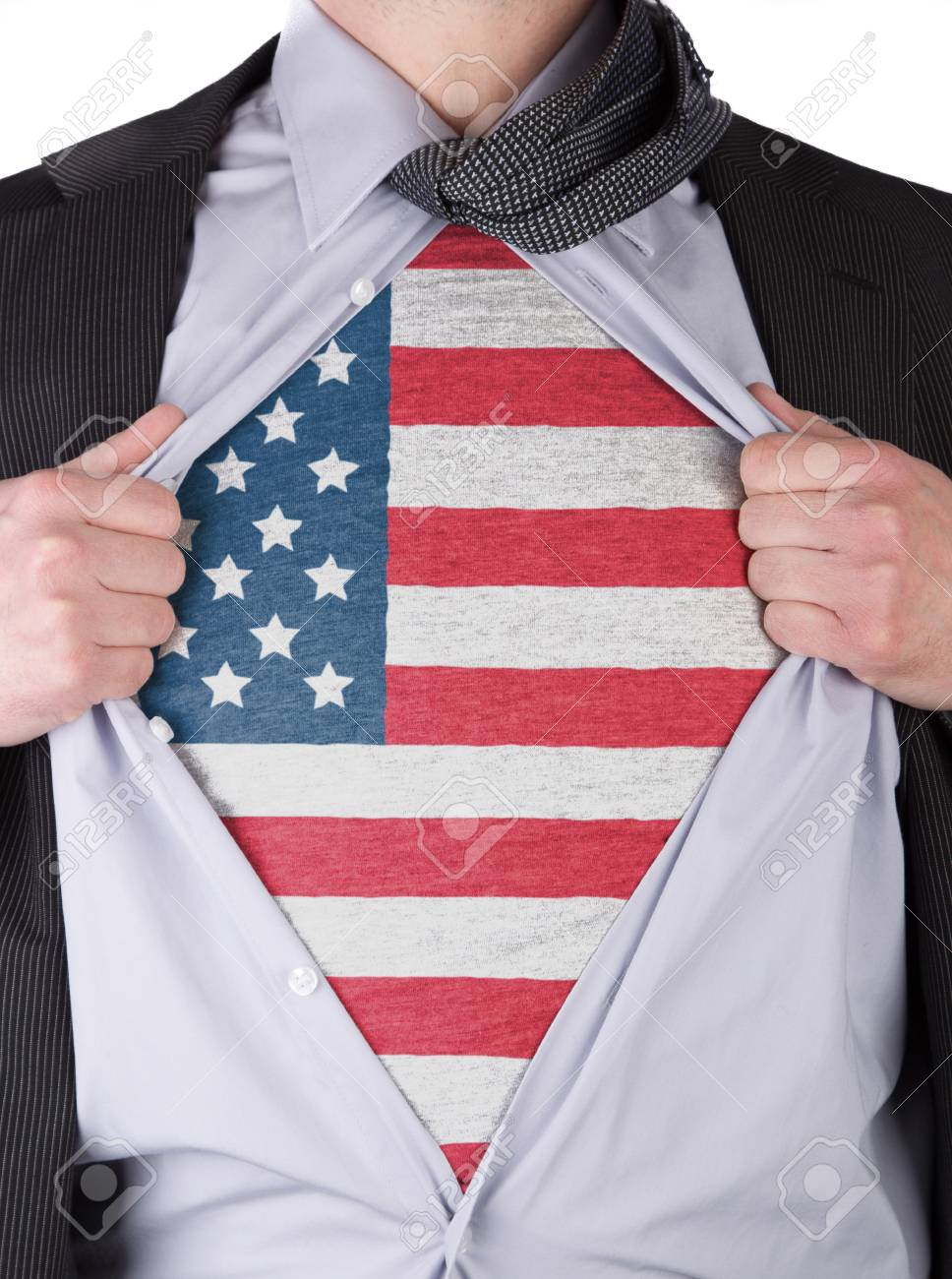Business man rips open his shirt to show his USA flag t-shirt Stock Photo - 17427889