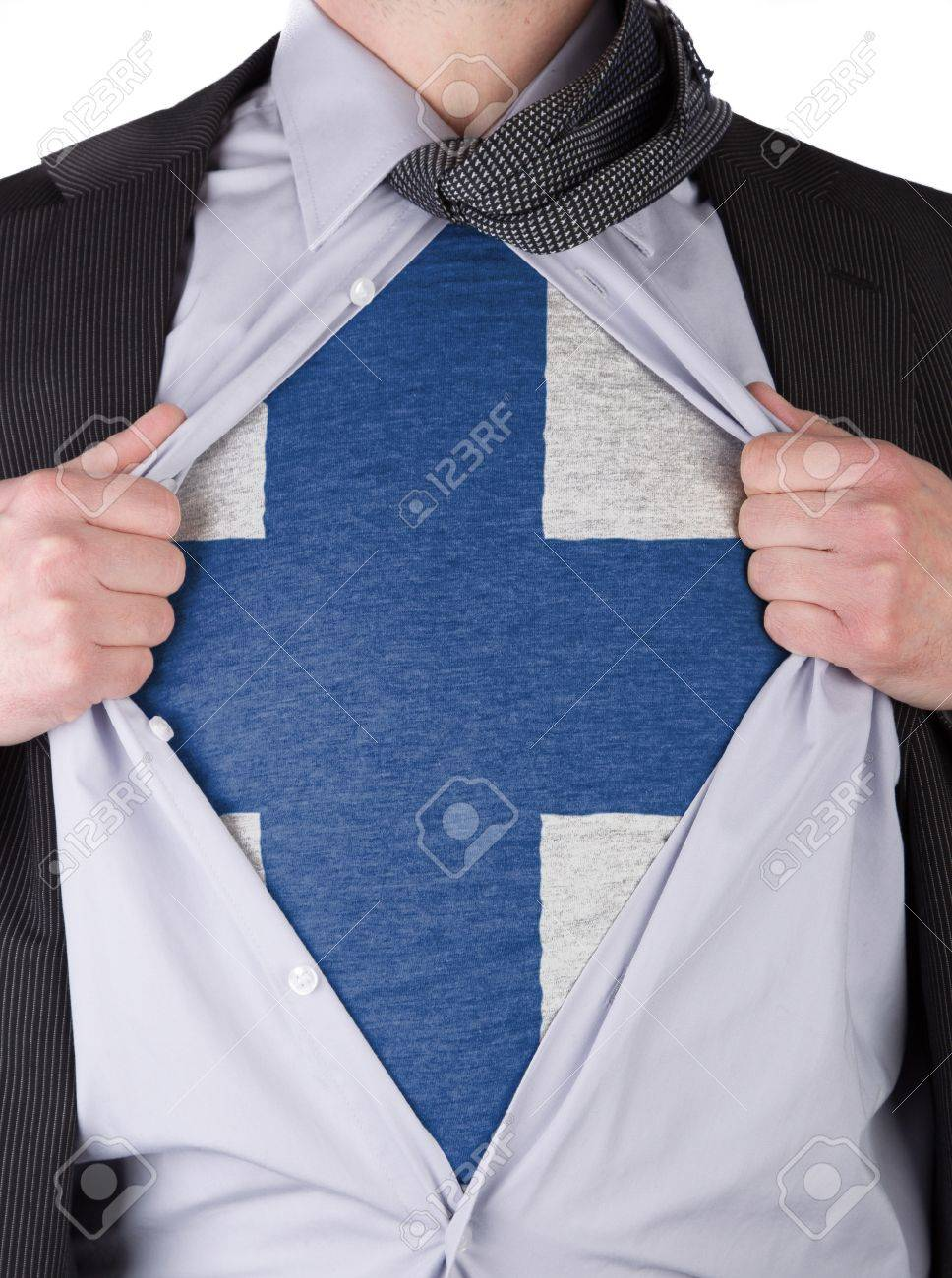 Business man rips open his shirt to show his Finnish flag t-shirt Stock Photo - 17541363