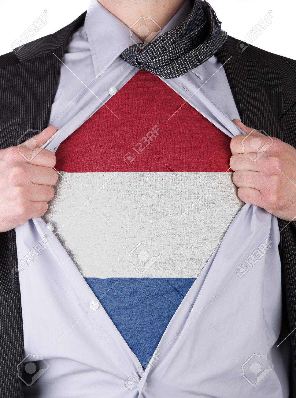 Business man rips open his shirt to show his Dutch flag t-shirt Stock Photo - 17541358