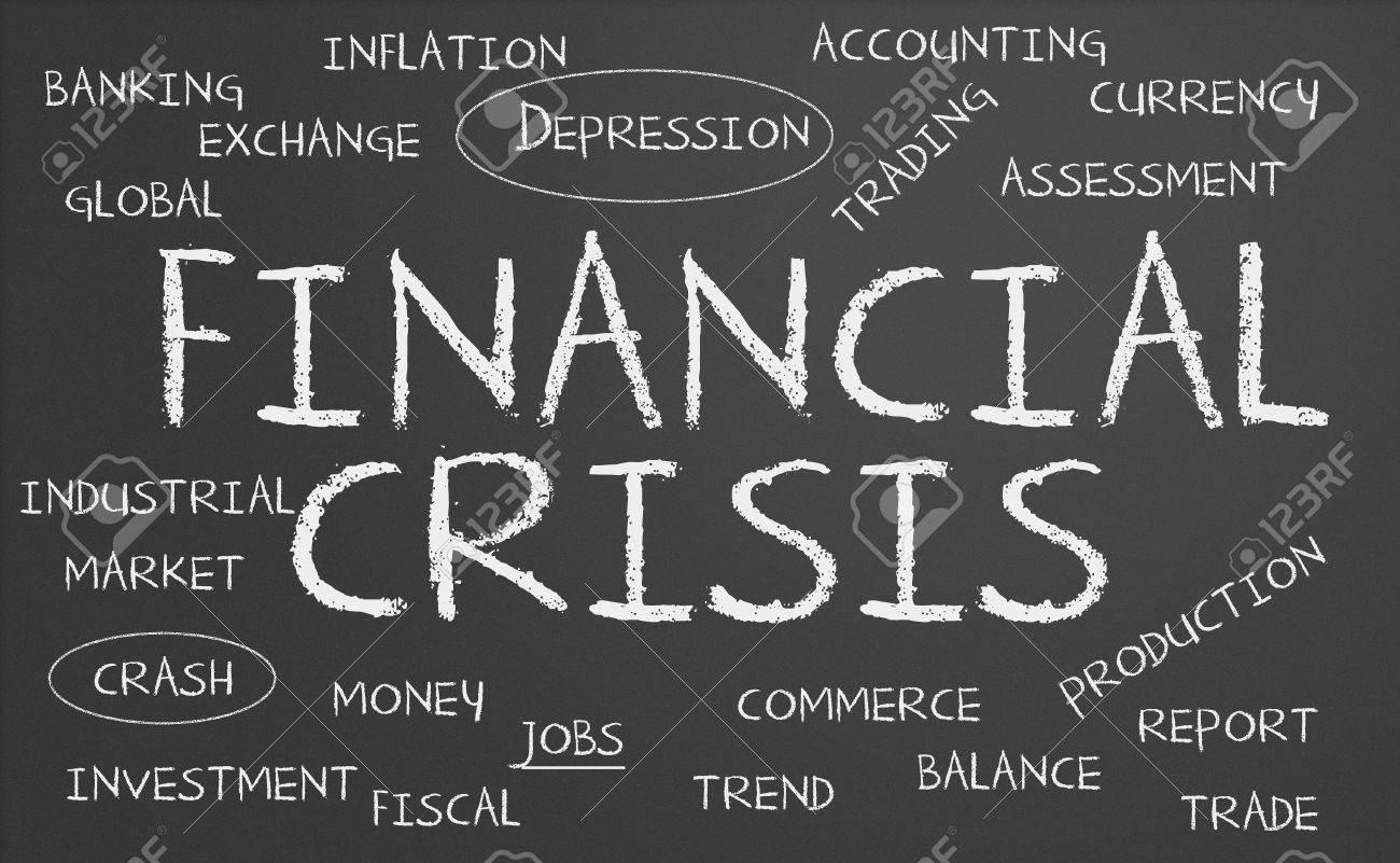 Financial crisis word cloud written on a chalkboard Stock Photo - 17958868