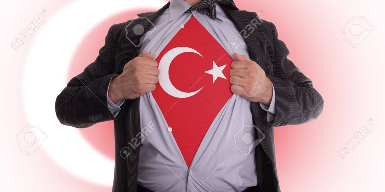 Business man rips open his shirt to show his Turkish flag t-shirt Stock Photo - 18232670
