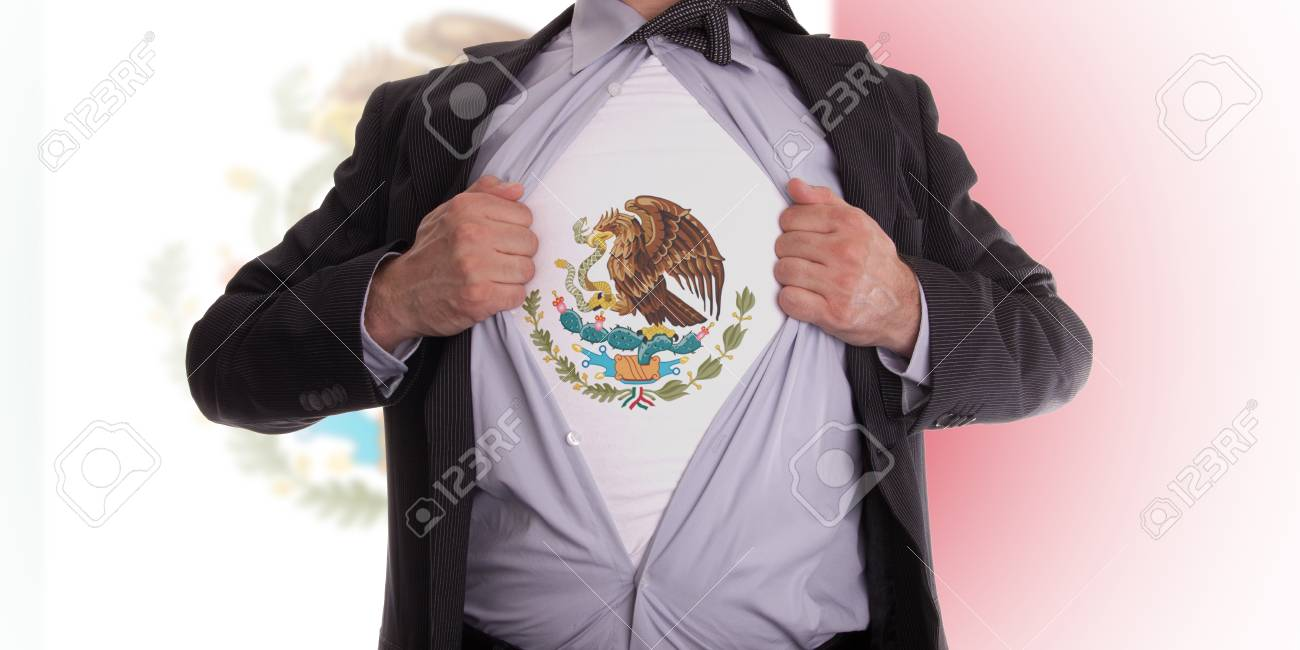 Business man rips open his shirt to show his Mexican flag t-shirt Stock Photo - 18358675