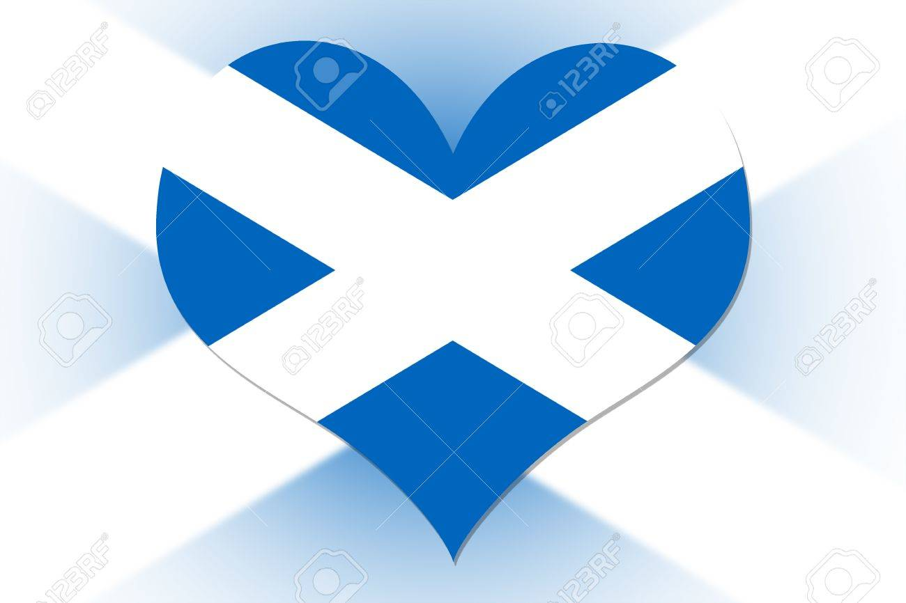 scottish flag in the shape of a heart stock photo picture and