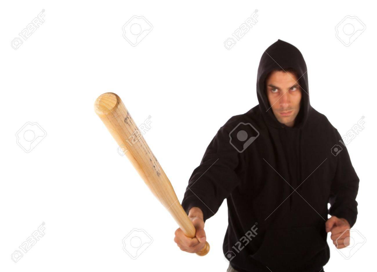 Hooligan with baseball bat isolated on white. Focus on bat Stock Photo - 21623035