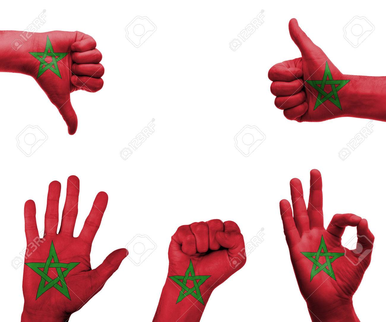 A Set Of Hands With Different Gestures Wrapped In The Flag Of