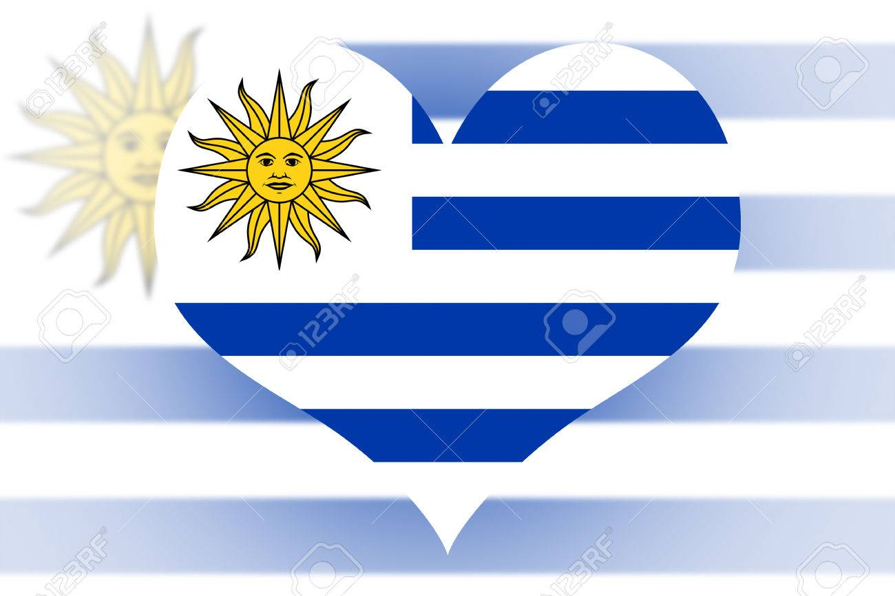Uruguay Flag In The Shape Of A Heart Stock Photo Picture And - Uruguay flag