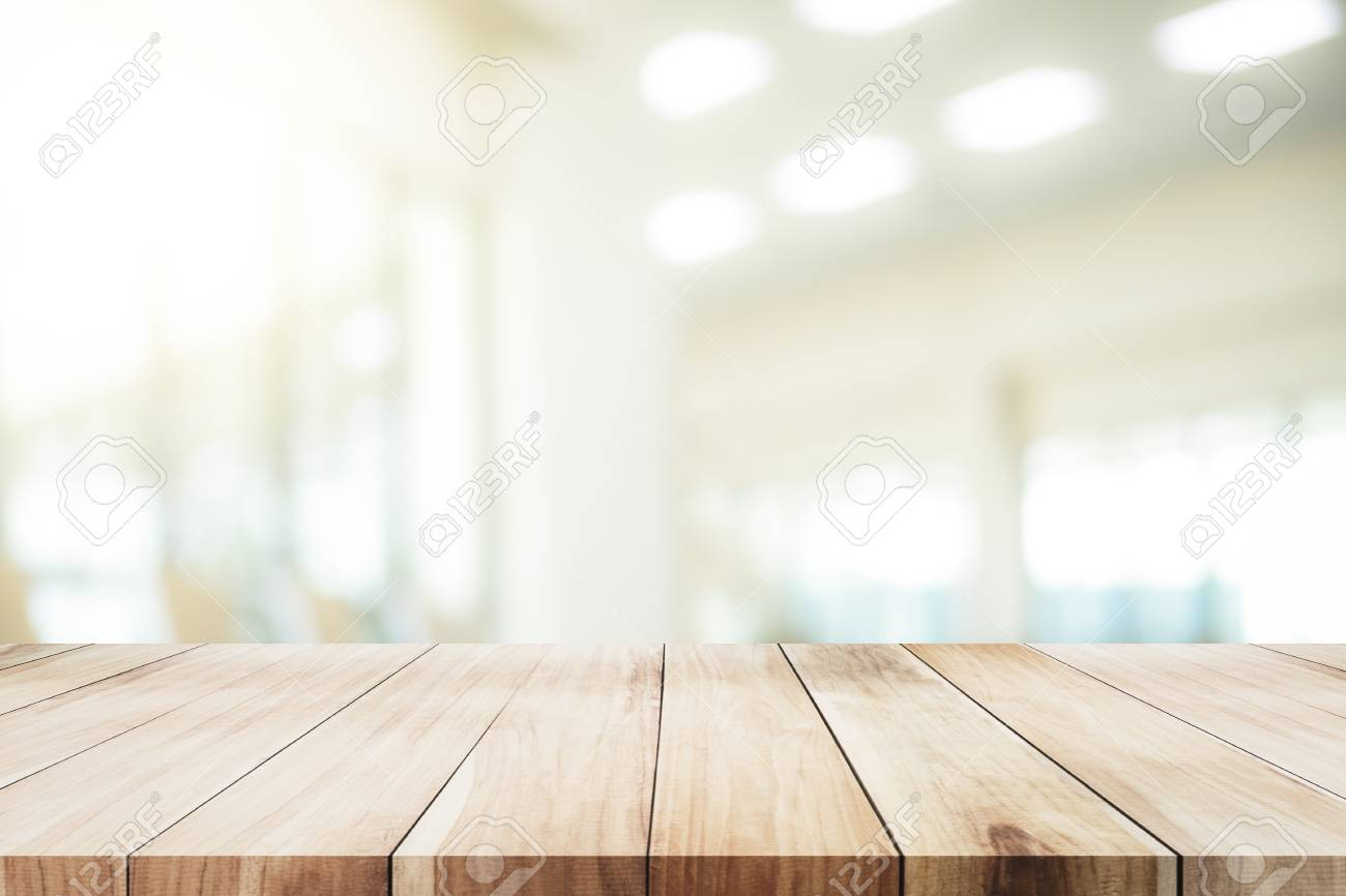 Empty Table For Present Product With Office Background Stock