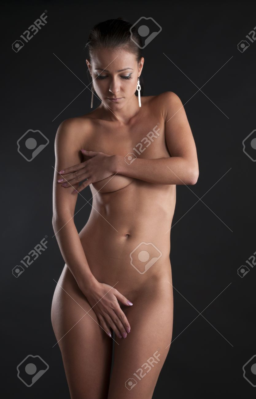 Nude girl eating banana