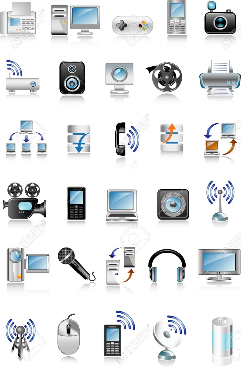 blue media icons Stock Vector - 5566120