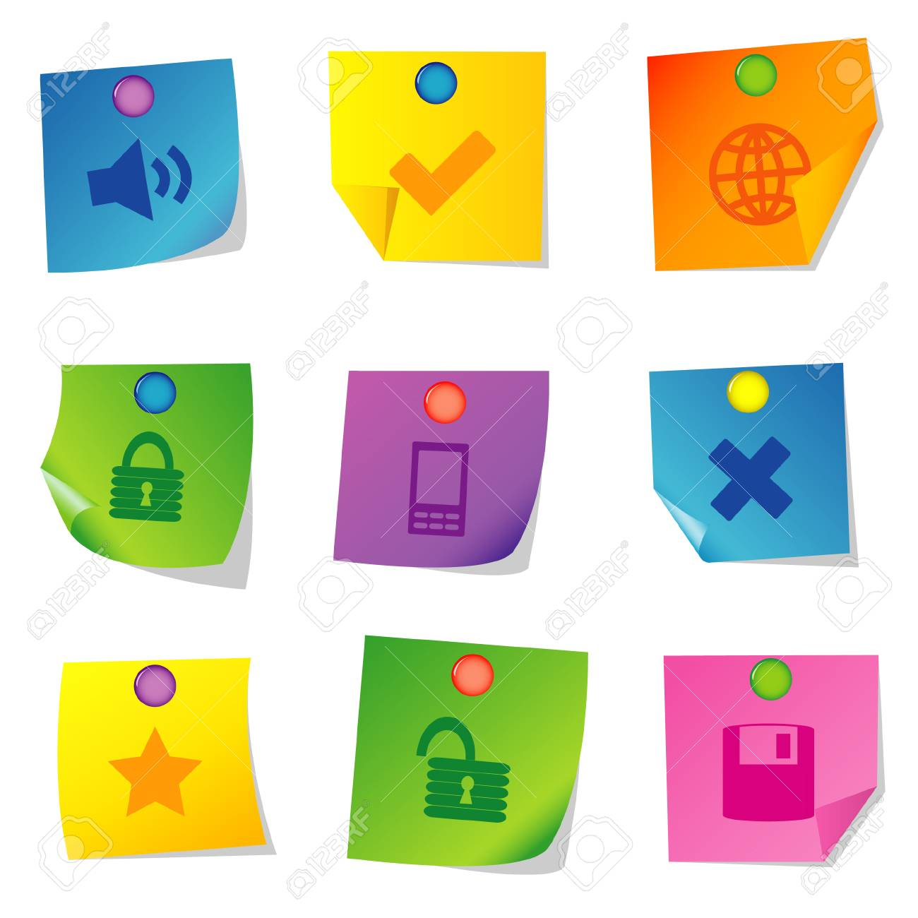 Vector illustration of icons on paper. Set three Stock Vector - 5763084