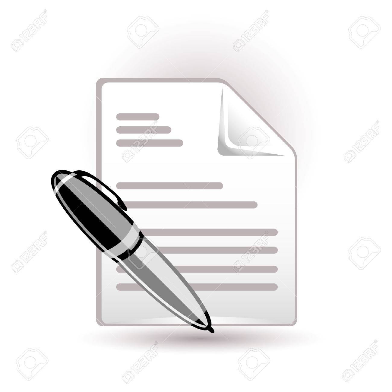 Document and pen icon Stock Vector - 7289637