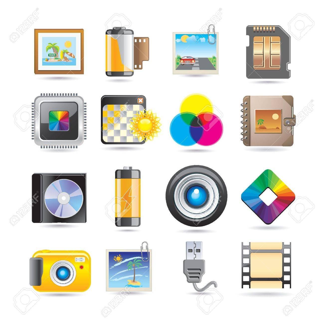 photography icon set Stock Vector - 8843903