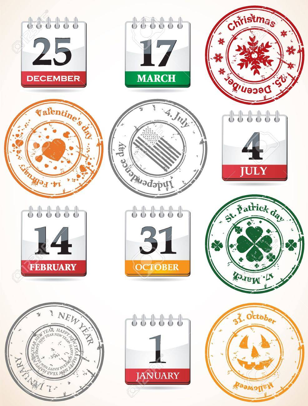 set of stamps and calendars Stock Vector - 9201478