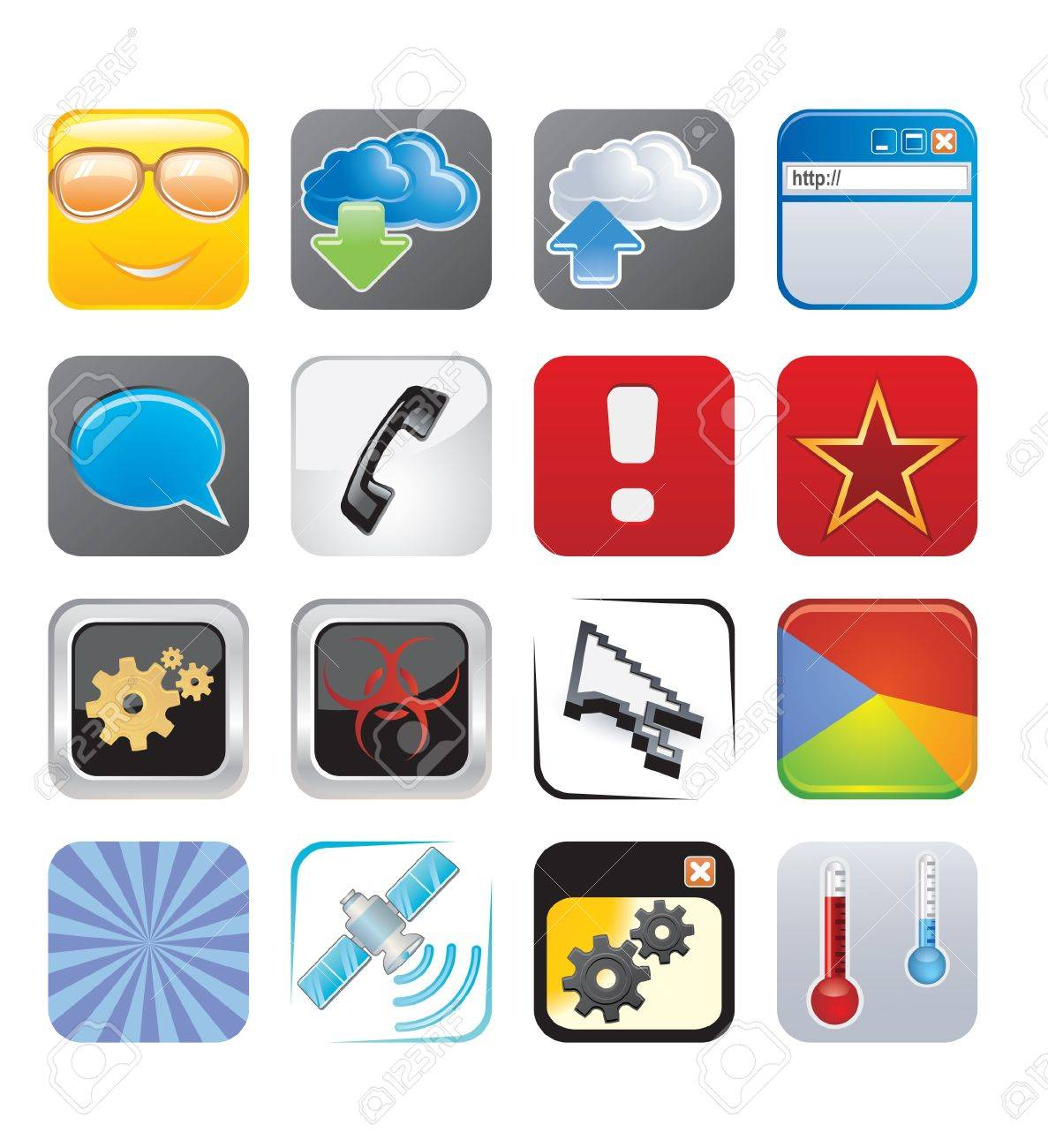 apps icons set four Stock Vector - 15134975