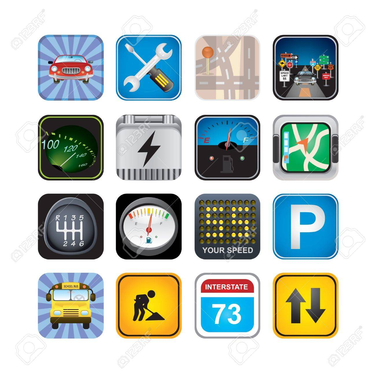 car  signs and icons Stock Vector - 17968023