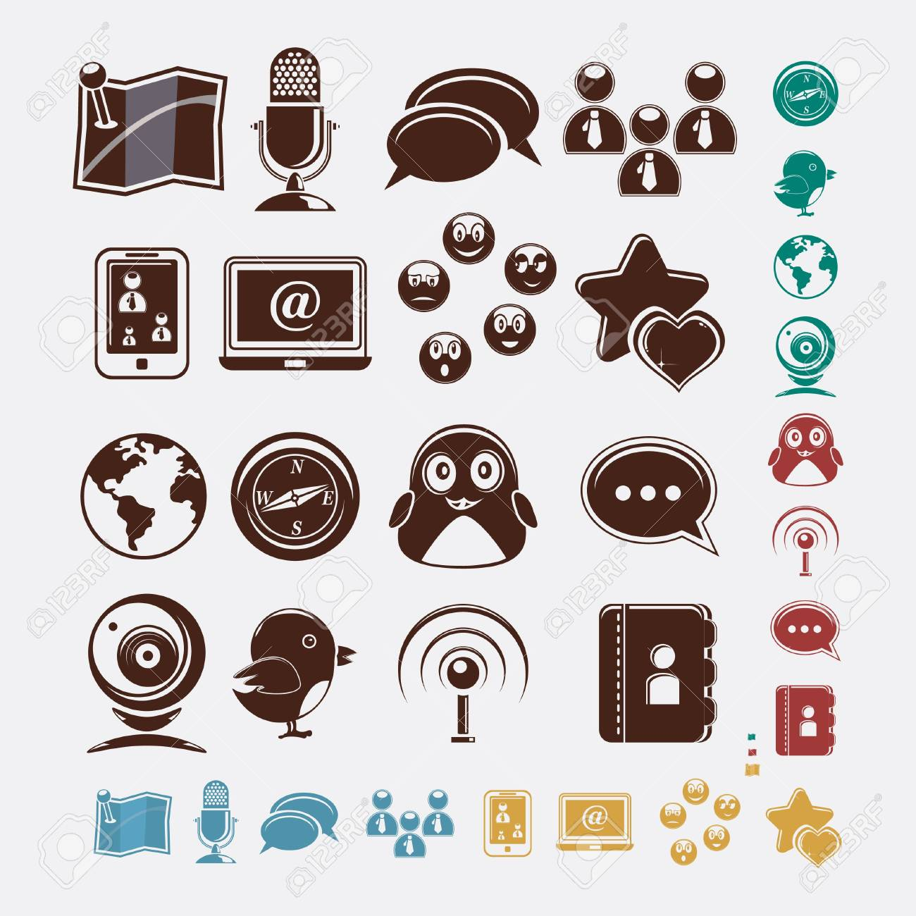 social set of icons Stock Vector - 18267071
